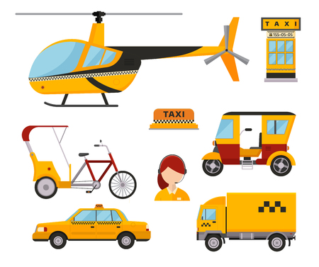 dispatcher: Taxi cab isolated vector illustration white background passenger car transport yellow icon truck van cargo helicopter bicycle dispatcher different Illustration