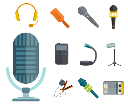 Microphone vector icon isolated interview music TV tool show voice radio broadcast audio live record studio sound media set headphones set dictaphone