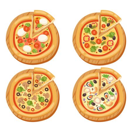 ピザ フラット アイコン分離ベクトル イラスト作品スライス ピッツェリア食品メニュー スナック ホワイト バック グラウンド ペパロニ成分配信イ