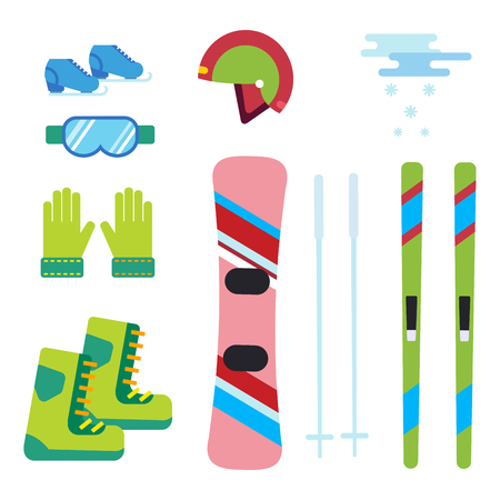 Winter sport vector icons set ski snowboarding clothes tool elements helmet glove boots element item illustration isolated equipment extreme lifestyle Illustration
