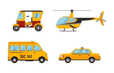 Taxi cab isolated vector illustration white background passenger car transport yellow icon sign city truck van cargo helicopter city different