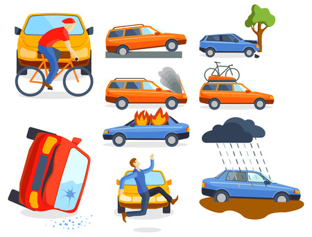 Cartoon Characters And Car Car Crash Tree Stock Picture