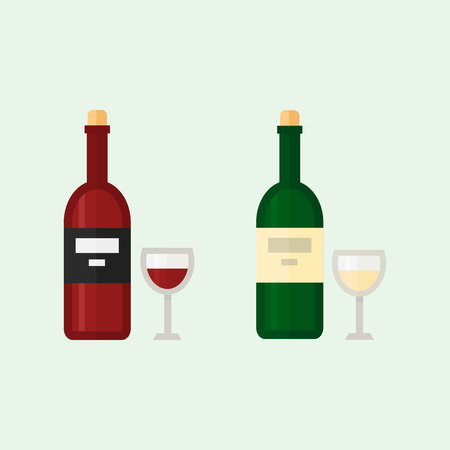 Alcohol drinks beverages cocktail whiskey drink bottle lager refreshment container and menu drunk concep different bottle and glasses vector illustration.