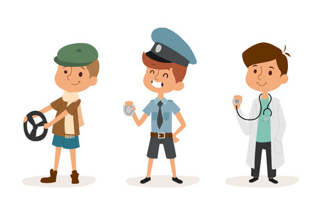 cartoon profession kids children vector set illustration person childhood policeman doctor driver uniform worker character