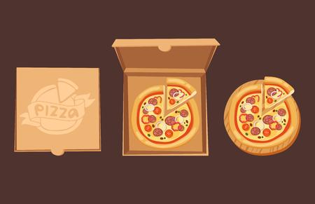 Pizza boîte vector illustration carton carton objet paquet isolé papier récipient alimentaire conception livraison déjeuner emballage carré ouvert