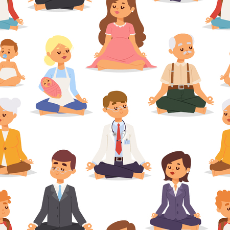 Lotus position yoga pose meditation art relax people relax isolated on white seamless pattern background design character vector illustration.