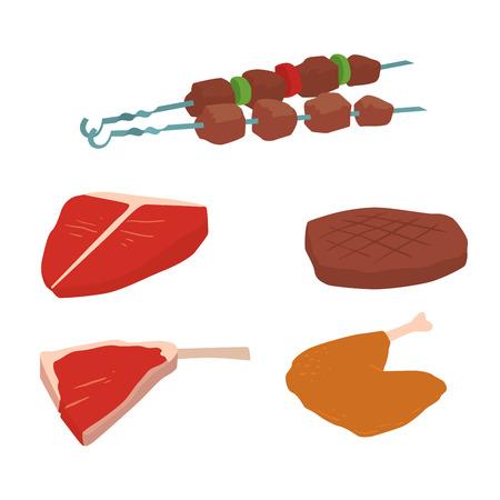 Vleesproducten set van cartoon heerlijke barbecue kebab verscheidenheid heerlijke gastronomische maaltijd en dierlijke assortiment plak lam gekookt vectorillustratie
