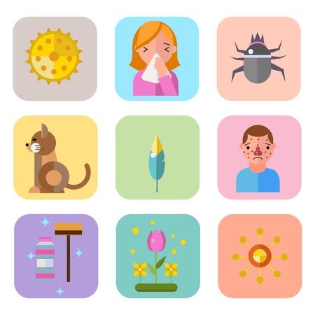 Allergiesymbolkrankheitgesundheitspflegetablettenviren und flache Kennsatzleute der Gesundheit mit Krankheit Allergensymptome Krankheitsinformationen vector Illustration. Menschliches Blumenbehandlungshusten nicht gesundes Zeichen. Standard-Bild - 74405972