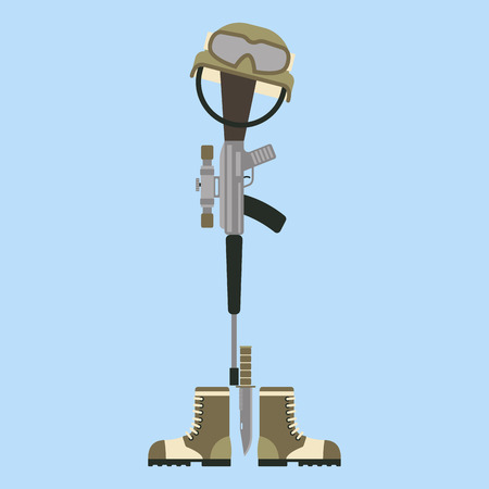Memorial battlefield cross american honor symbol of a fallen US soldier modern war rifle M16 with boots and helmet vector illustration. Special grave bayonet knife reminder veteran patriotism rifle.