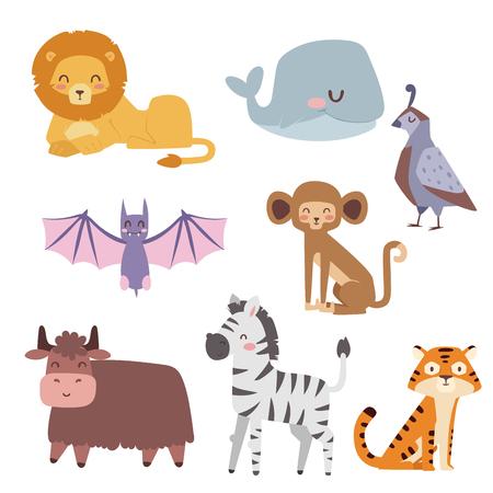 Animaux de dessin animé mignon zoo isolé faune drôle apprendre la langue mignonne et la nature tropicale. Banque d'images - 74493592