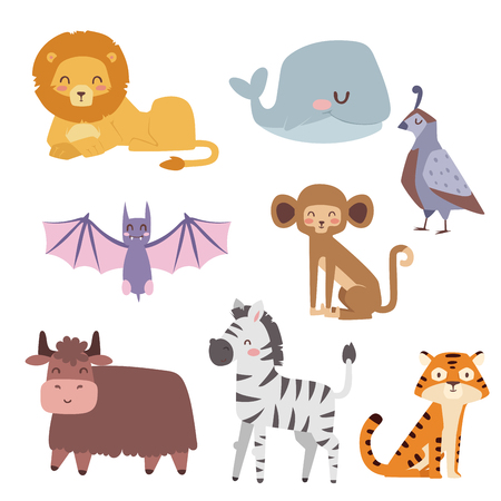 Cute zoo cartoon animals isolated funny wildlife learn cute language and tropical nature.