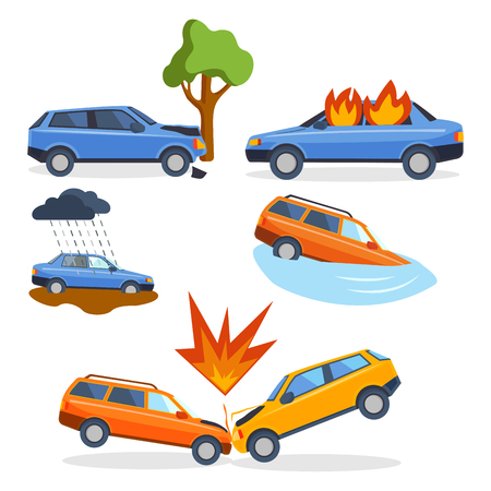 dead tree: Car crash collision traffic insurance safety automobile emergency disaster and emergency