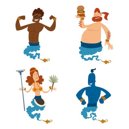 Cartoon genie character magic lamp vector illustration treasure aladdin miracle Illustration