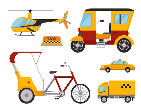 Taxi cab isolated vector illustration white background passenger car transport yellow icon