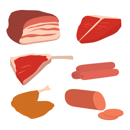 Meat products set of cartoon delicious barbecue kebab variety delicious gourmet meal Illustration