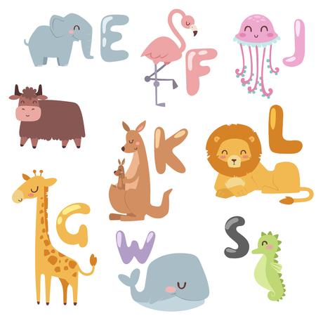Cute animaux de bande dessinée de zoo isolés sauvage drôle apprennent la langue mignonne et la nature tropicale Banque d'images - 74572715