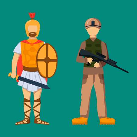 Military soldier character weapon symbols armor man silhouette forces design Illustration