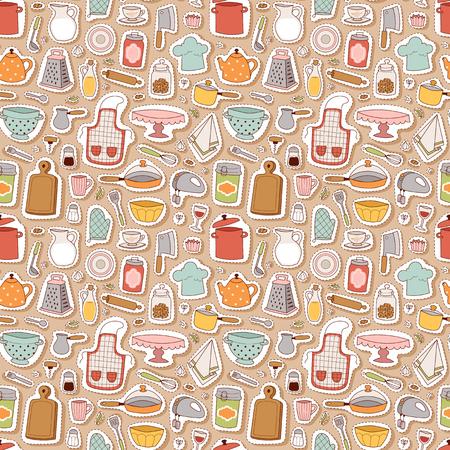 Kitchen set icon seamless pattern