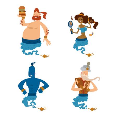 Cartoon genie character magic lamp vector illustration treasure aladdin miracle djinn Illustration