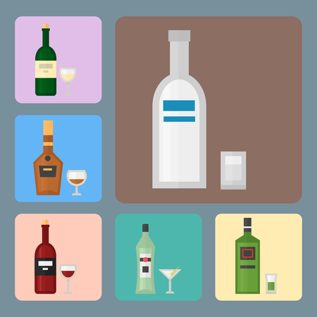 Alcohol drinks beverages cocktail card drink bottle lager refreshment container and menu drunk concept different bottle and glasses vector illustration. Illustration