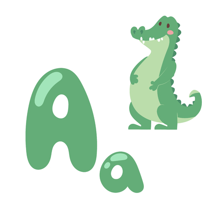 Cute zoo alphabet with cartoon animal crocodile isolated on white background and funny letter A wildlife learn typography cute language vector illustration.