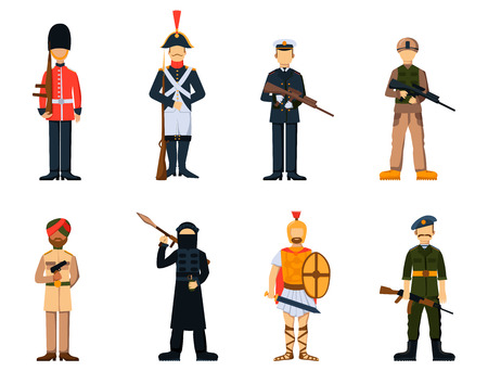 Military soldier character weapon symbols armor man silhouette forces design and american fighter ammunition navy camouflage sign vector illustration.