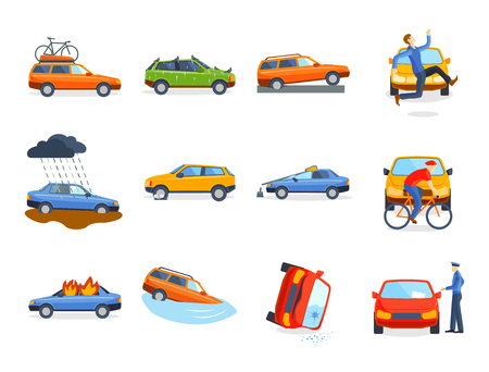Auto Crash Kollision Verkehr Versicherung Sicherheit Automobil Notfall Katastrophe und Notfall Katastrophe Geschwindigkeit Reparatur Transport Vektor-Illustration.