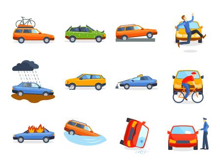 Auto crash botsing verkeersverzekering veiligheid auto nood ramp en nood ramp snelheid reparatie vervoer vector illustratie.