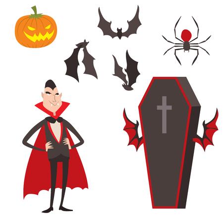 Cartoon Dracula vector simboli simboli vampiro personaggio divertente uomo personaggi pop Halloween e magia pop Fest avatar illustrazione di fiaba Archivio Fotografico - 75138825