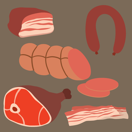 Meat products set of cartoon delicious barbecue kebab variety delicious gourmet meal and animal assortment slice lamb cooked vector illustration