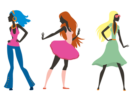 glamour model: Fashion look girl silhouette beautiful girl woman female and pretty, young, model, style, hair, lady character glamour cute vector illustration.