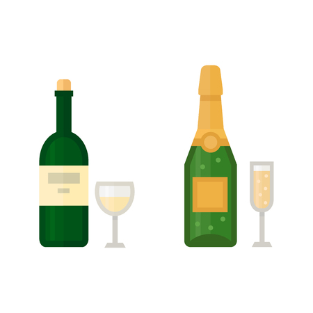 Alcohol champagne drinks beverages cocktail drink bottle lager refreshment container and menu drunk different bottle and glasses vector illustration Illustration