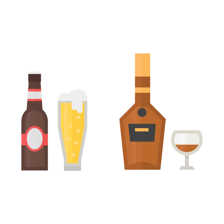 Alcohol beer drinks beverages cocktail whiskey drink bottle lager refreshment container and menu drunk different bottle and glasses vector illustration.