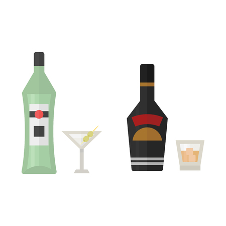Alcohol drinks beverages cocktail whiskey drink bottle lager refreshment container and menu drunk concept different bottle and glasses vector illustration.
