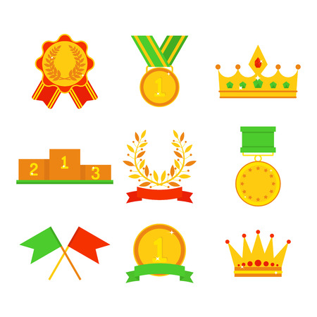 Vector trophy champion cup flat icon winner gold award and victory prize sport success best win golden leadership competition illustration. Illustration