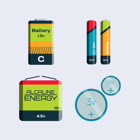 expressing negativity: Battery energy tool electricity charge fuel positive supply and isposable generation component alkaline industry technology vector illustration.