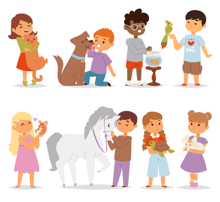 Toddler cartoon kids characters petting little pet in and cute kind child feeding animals friends in the zoo friendship vector illustration.