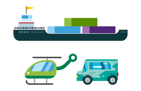 Transport delivery vector isolated white transportation car bus van fire truck helicopter ship silhouette icon tanker business logistic shipment set Illustration