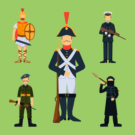 Military soldier character weapon symbols armor man silhouette forces design and american fighter ammunition navy camouflage sign vector illustration. Illustration