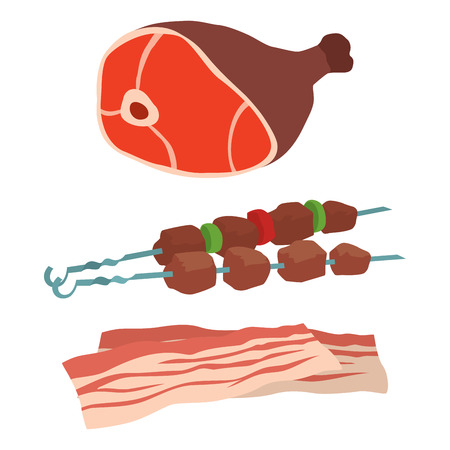 Meat products set of cartoon delicious barbecue kebab variety Illustration