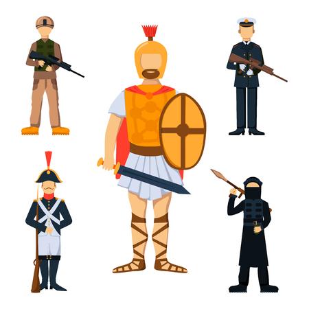 Military soldier character weapon symbols armor man silhouette forces design Ilustração