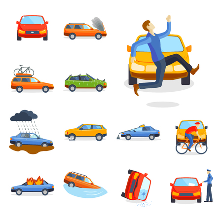 Car crash collision traffic insurance safety automobile emergency disaster and emergency disaster speed repair transport vector illustration.