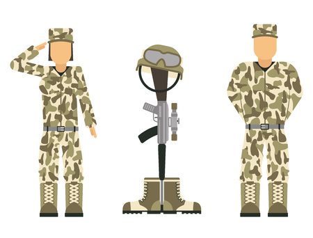 Memorial battlefield cross american honor symbol of a fallen US soldier characters modern war rifle M16 with boots and helmet vector illustration.