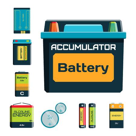 バッテリー エネルギー ツール電気料金燃料肯定的な供給と isposable 世代コンポーネント アルカリ産業技術ベクトル イラスト。  イラスト・ベクター素材