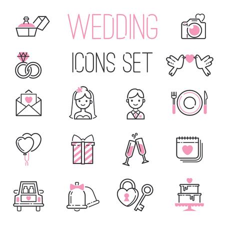 개요 결혼식 날 흑백 결혼 아이콘 약혼에 대 한 아이콘의 설정 결혼 사랑과 로맨틱 이벤트를 얻을 신부 신랑 심장 벡터 일러스트 레이 션.