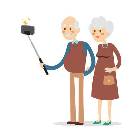 Selfie grandpa grandma isolated vector illustration character photo lifestyle flat camera smartphone person picture pensioners old people