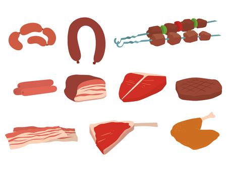 Fleisch-Produkte Satz von Cartoon köstliche Barbecue Kebab Vielzahl leckere Gourmet-Mahlzeit und Tier-Sortiment Scheibe Lamm gekocht Vektor-Illustration