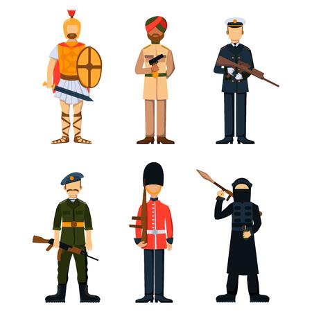 Militär Soldat Charakter Waffe Symbole Rüstung Mann Silhouette Kräfte Design und amerikanischen Kämpfer Munition navy Tarnung Zeichen Vektor-Illustration. Standard-Bild - 74965746
