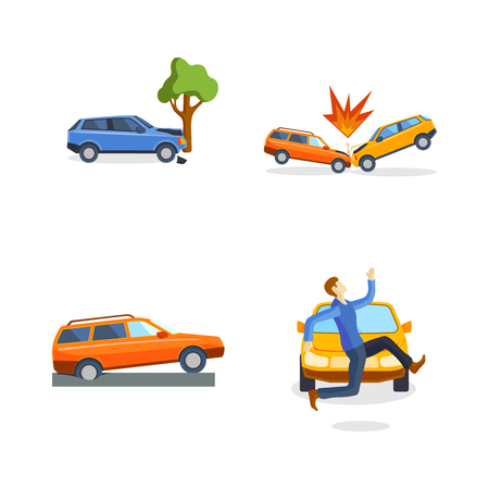 drunk driving: Car crash collision traffic insurance safety automobile emergency disaster and emergency disaster speed repair transport vector illustration.