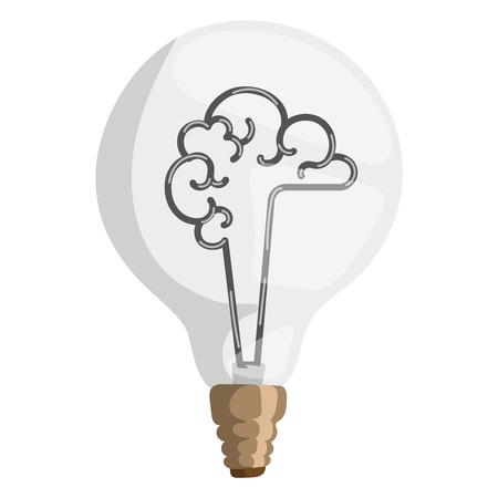 Brain lamp vector illustration concept isolated design innovation bulb light resource electricity symbol solution invention watt brainstorm sign Vettoriali